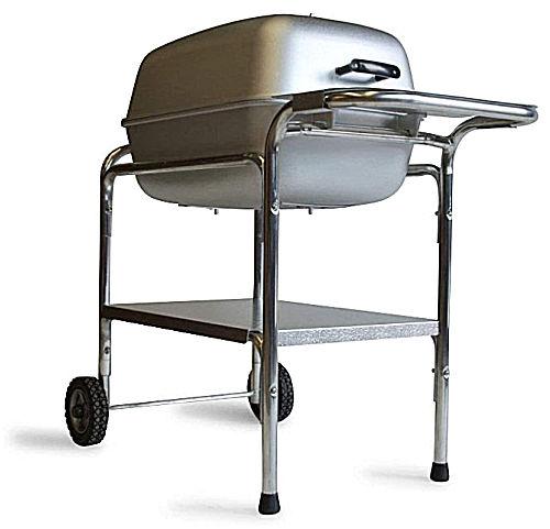 A silver PK Grills PKO-SCAX-X Original Smoker Grill on a wheeled cart.