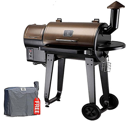 A bronze Z GRILLS ZPG-450A 2020 Upgrade Wood Pellet Grill & Smoker on wheels with a smaller picture showing smoker cover.