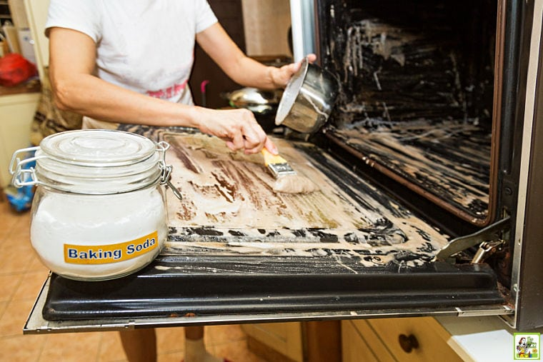 Woman applying baking soda paste with paintbrush to clean oven.